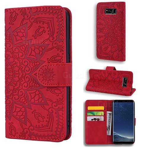 Retro Embossing Mandala Flower Leather Wallet Case for Samsung Galaxy S8 - Red