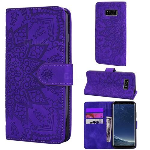Retro Embossing Mandala Flower Leather Wallet Case for Samsung Galaxy S8 - Purple