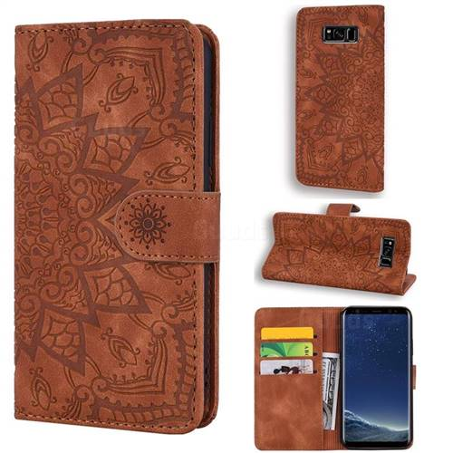 Retro Embossing Mandala Flower Leather Wallet Case for Samsung Galaxy S8 - Brown