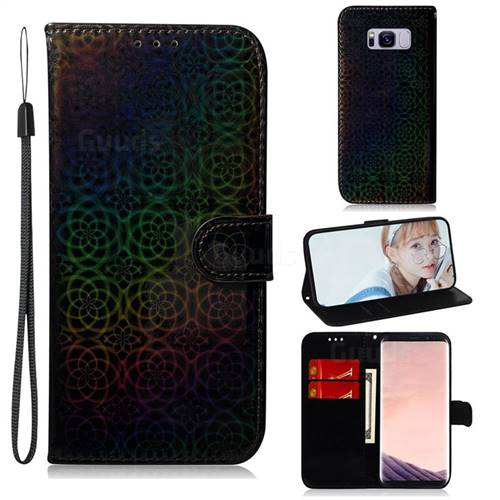 Laser Circle Shining Leather Wallet Phone Case for Samsung Galaxy S8 - Black