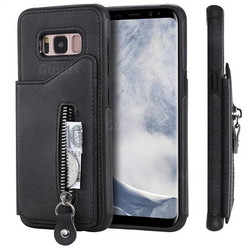 Retro Buckle Zipper Anti-fall Leather Phone Back Cover for Samsung Galaxy  S8 - Black