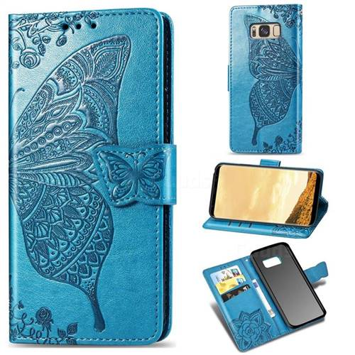 Embossing Mandala Flower Butterfly Leather Wallet Case for Samsung Galaxy S8 - Blue