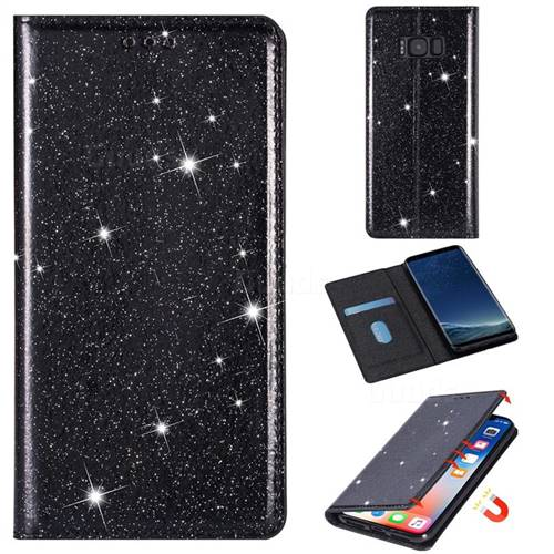 Ultra Slim Glitter Powder Magnetic Automatic Suction Leather Wallet Case for Samsung Galaxy S8 - Black