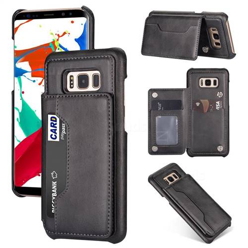 Luxury Magnetic Double Buckle Leather Phone Case for Samsung Galaxy S8 - Black