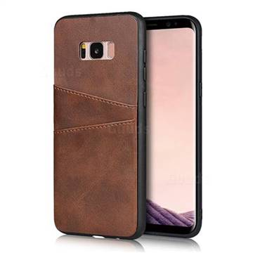 Simple Calf Card Slots Mobile Phone Back Cover for Samsung Galaxy S8 - Coffee