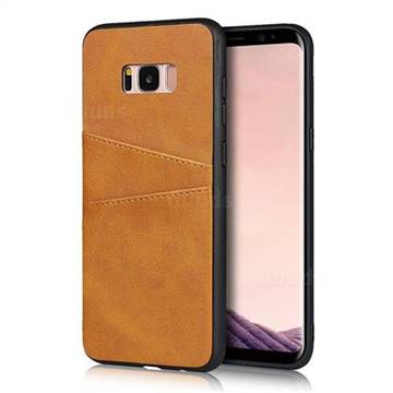 Simple Calf Card Slots Mobile Phone Back Cover for Samsung Galaxy S8 - Yellow