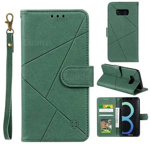 Embossing Geometric Leather Wallet Case for Samsung Galaxy S8 - Green