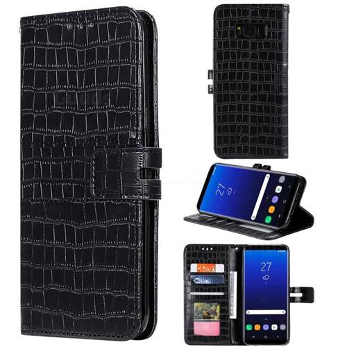 Luxury Crocodile Magnetic Leather Wallet Phone Case for Samsung Galaxy S8 - Black