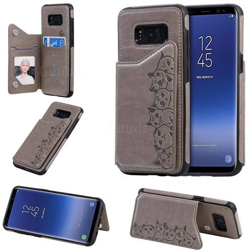 Yikatu Luxury Cute Cats Multifunction Magnetic Card Slots Stand Leather Back Cover for Samsung Galaxy S8 - Gray
