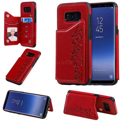 Yikatu Luxury Cute Cats Multifunction Magnetic Card Slots Stand Leather Back Cover for Samsung Galaxy S8 - Red