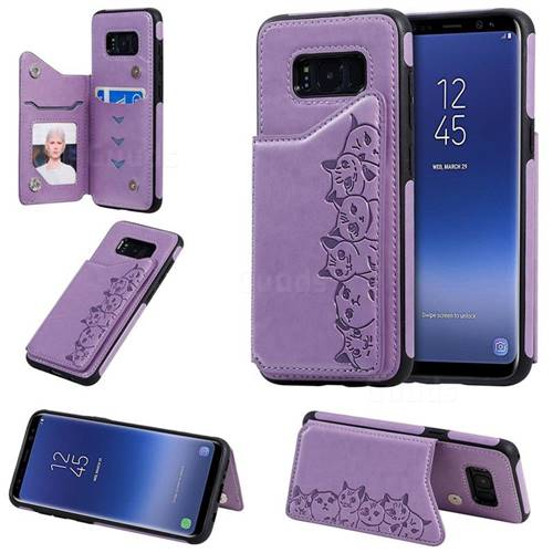 Yikatu Luxury Cute Cats Multifunction Magnetic Card Slots Stand Leather Back Cover for Samsung Galaxy S8 - Purple