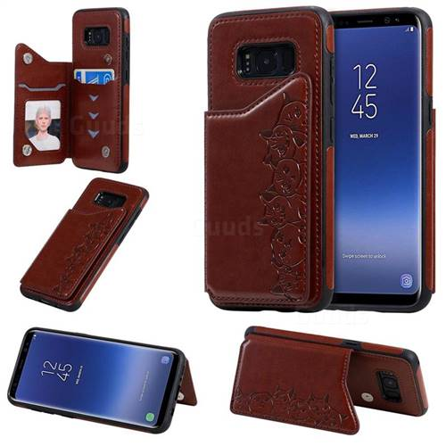 Yikatu Luxury Cute Cats Multifunction Magnetic Card Slots Stand Leather Back Cover for Samsung Galaxy S8 - Brown
