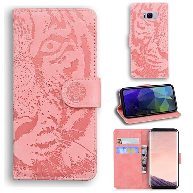 Intricate Embossing Tiger Face Leather Wallet Case for Samsung Galaxy S8 - Pink