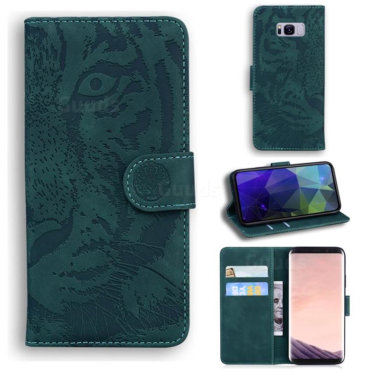 Intricate Embossing Tiger Face Leather Wallet Case for Samsung Galaxy S8 - Green