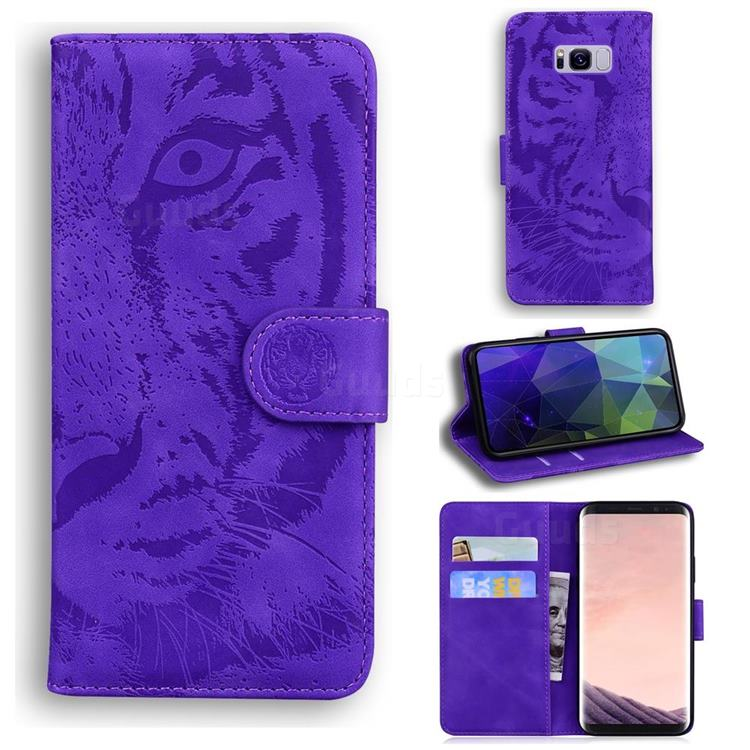 Intricate Embossing Tiger Face Leather Wallet Case for Samsung Galaxy S8 - Purple