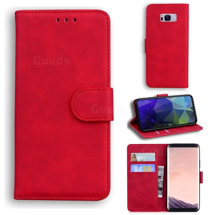 Retro Classic Skin Feel Leather Wallet Phone Case for Samsung Galaxy S8 - Red