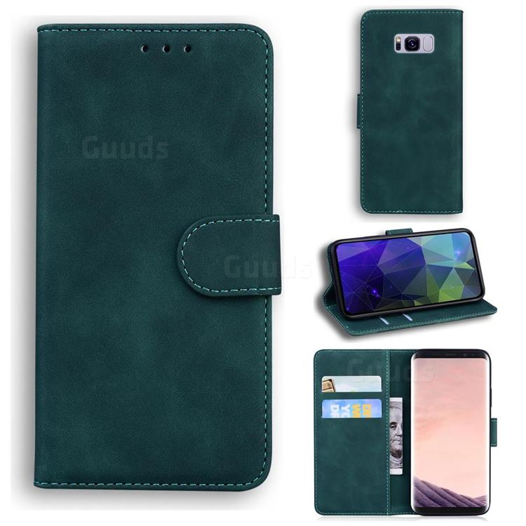 Retro Classic Skin Feel Leather Wallet Phone Case for Samsung Galaxy S8 - Green