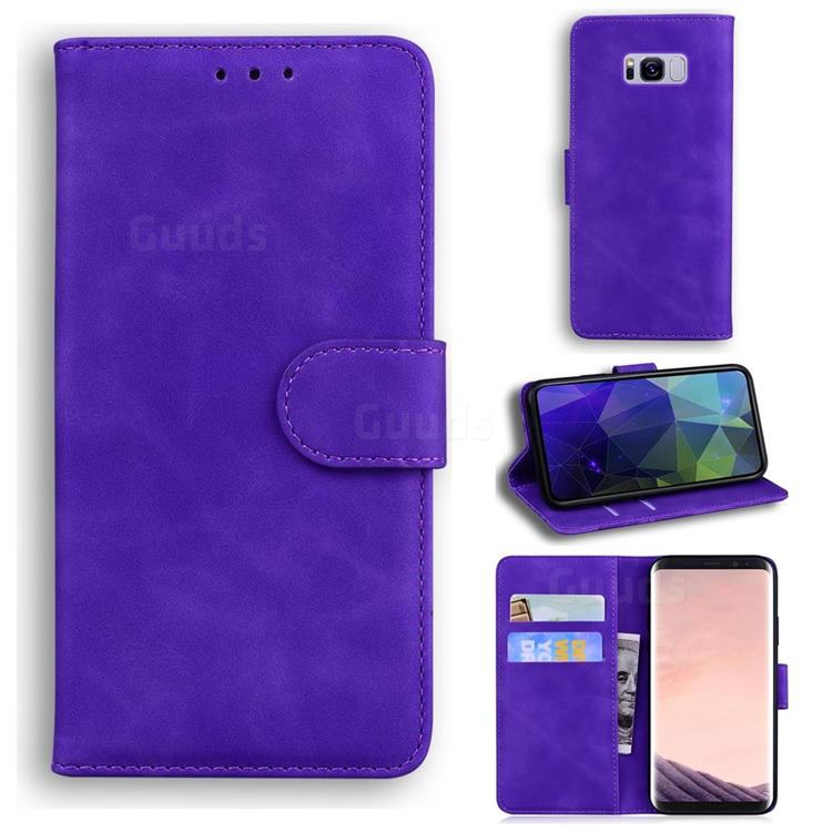 Retro Classic Skin Feel Leather Wallet Phone Case for Samsung Galaxy S8 - Purple