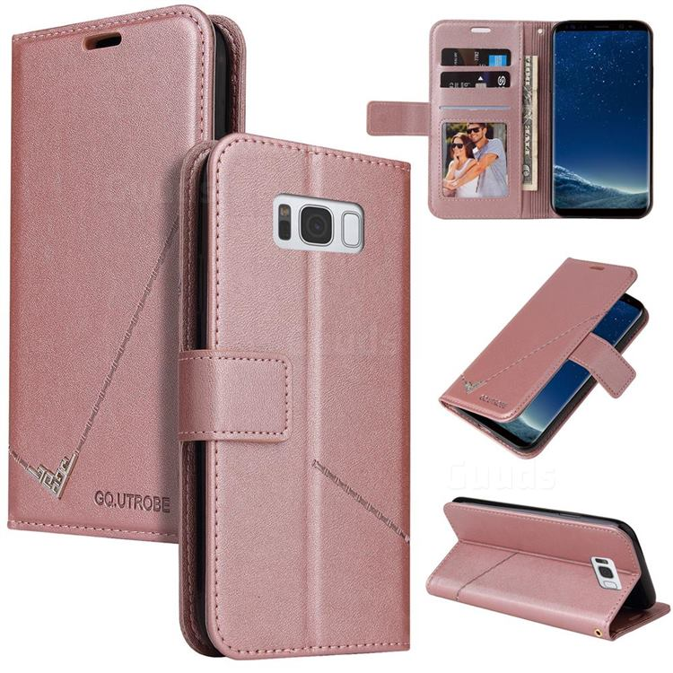 GQ.UTROBE Right Angle Silver Pendant Leather Wallet Phone Case for Samsung Galaxy S8 - Rose Gold