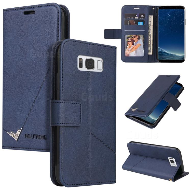 GQ.UTROBE Right Angle Silver Pendant Leather Wallet Phone Case for Samsung Galaxy S8 - Blue