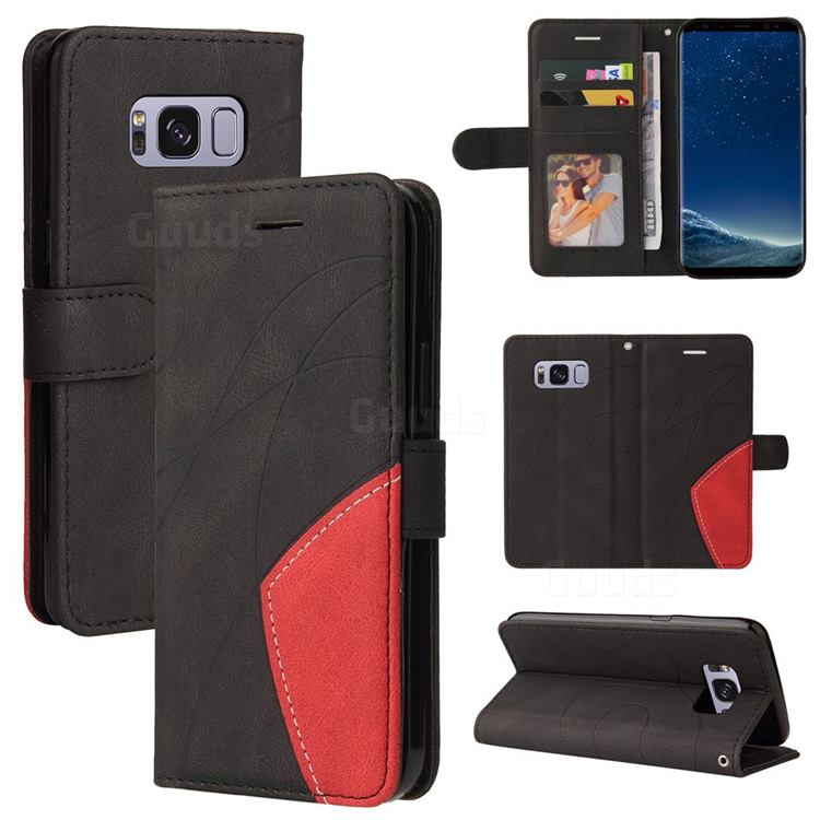 Luxury Two-color Stitching Leather Wallet Case Cover for Samsung Galaxy S8 - Black