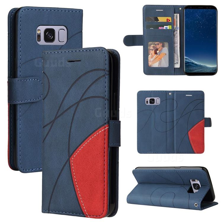 Luxury Two-color Stitching Leather Wallet Case Cover for Samsung Galaxy S8 - Blue