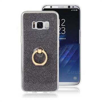 Luxury Soft TPU Glitter Back Ring Cover with 360 Rotate Finger Holder Buckle for Samsung Galaxy S8 Plus S8+ - Black