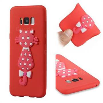 Polka Dot Cat Soft 3D Silicone Case for Samsung Galaxy S8 Plus S8+ - Red