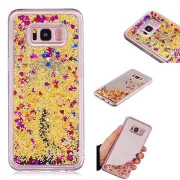 Glitter Sand Mirror Quicksand Dynamic Liquid Star TPU Case for Samsung Galaxy S8 Plus S8+ - Yellow