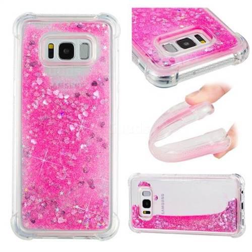 Dynamic Liquid Glitter Sand Quicksand TPU Case for Samsung Galaxy S8 Plus S8+ - Pink Love Heart