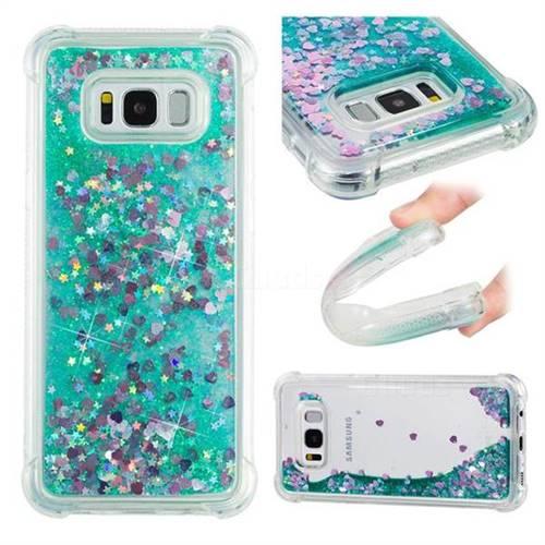Dynamic Liquid Glitter Sand Quicksand TPU Case for Samsung Galaxy S8 Plus S8+ - Green Love Heart