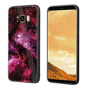 Luxury Starry Sky Tempered Glass Hard Back Cover with Silicone Bumper for Samsung Galaxy S8 Plus S8+ - Red