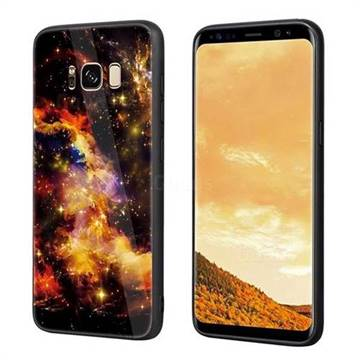 Luxury Starry Sky Tempered Glass Hard Back Cover with Silicone Bumper for Samsung Galaxy S8 Plus S8+ - Yellow