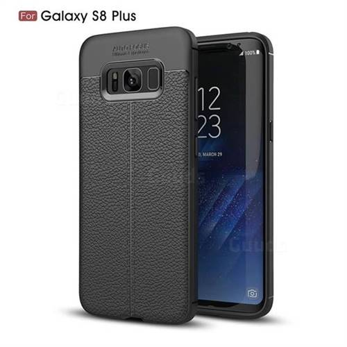 Luxury Auto Focus Litchi Texture Silicone TPU Back Cover for Samsung Galaxy S8 Plus S8+ - Black