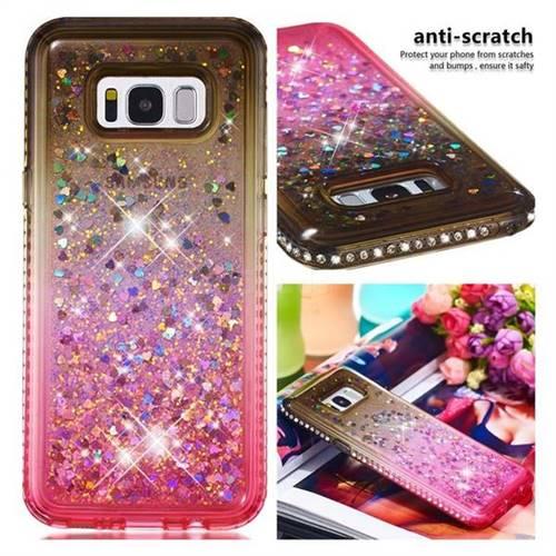 Diamond Frame Liquid Glitter Quicksand Sequins Phone Case for Samsung Galaxy S8 Plus S8+ - Gray Pink