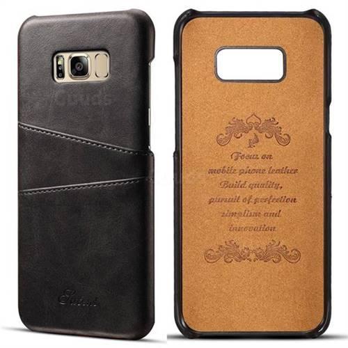 Suteni Retro Classic Card Slots Calf Leather Coated Back Cover for Samsung Galaxy S8 Plus S8+ - Black