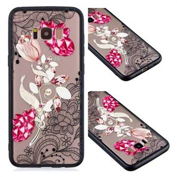Tulip Lace Diamond Flower Soft TPU Back Cover for Samsung Galaxy S8 Plus S8+