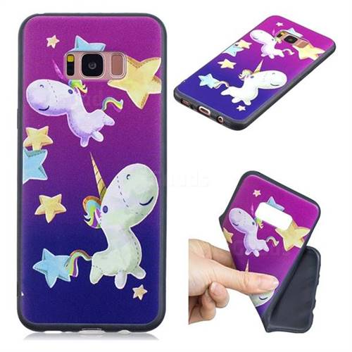 Pony 3D Embossed Relief Black TPU Cell Phone Back Cover for Samsung Galaxy S8 Plus S8+