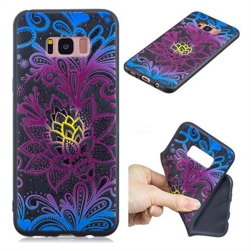 Colorful Lace 3D Embossed Relief Black TPU Cell Phone Back Cover for Samsung Galaxy S8 Plus S8+