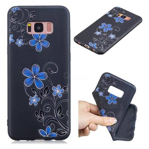 Little Blue Flowers 3D Embossed Relief Black TPU Cell Phone Back Cover for Samsung Galaxy S8 Plus S8+