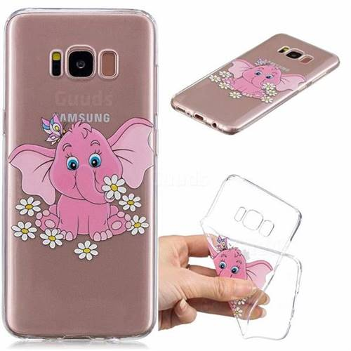 Tiny Pink Elephant Clear Varnish Soft Phone Back Cover for Samsung Galaxy S8 Plus S8+