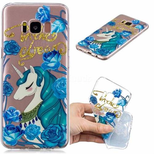 Blue Flower Unicorn Clear Varnish Soft Phone Back Cover for Samsung Galaxy S8 Plus S8+