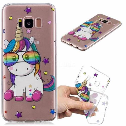 Glasses Unicorn Clear Varnish Soft Phone Back Cover for Samsung Galaxy S8 Plus S8+