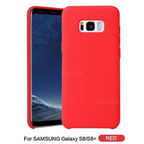 wholesale dealer bf47f 26b88 Howmak Slim Liquid Silicone Rubber Shockproof Phone Case Cover for Samsung  Galaxy S8 Plus S8+ - Red