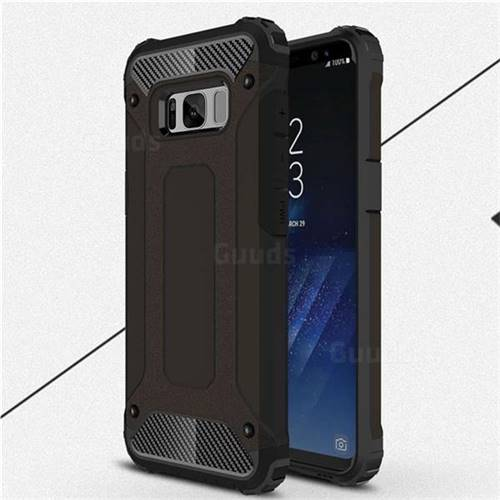 King Kong Armor Premium Shockproof Dual Layer Rugged Hard Cover for Samsung Galaxy S8 Plus S8+ - Black Gold