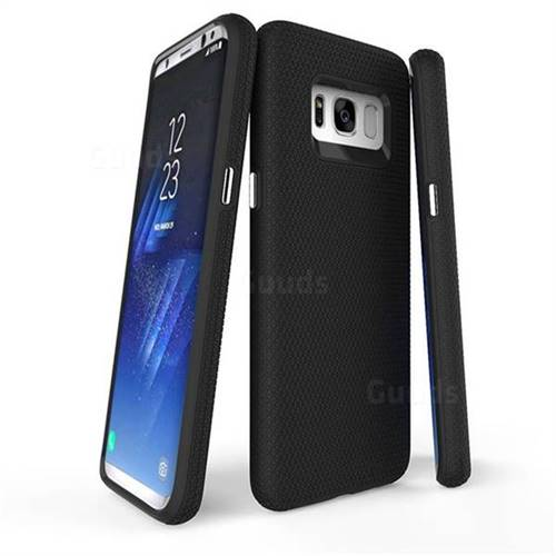 Triangle Texture Shockproof Hybrid Rugged Armor Defender Phone Case for Samsung Galaxy S8 Plus S8+ - Black