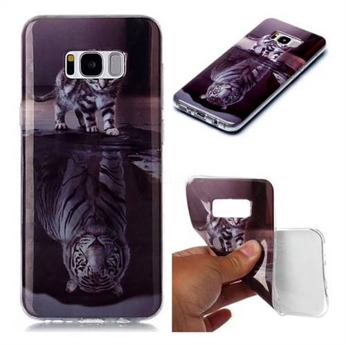 Cat and Tiger Soft TPU Cell Phone Back Cover for Samsung Galaxy S8 Plus S8+
