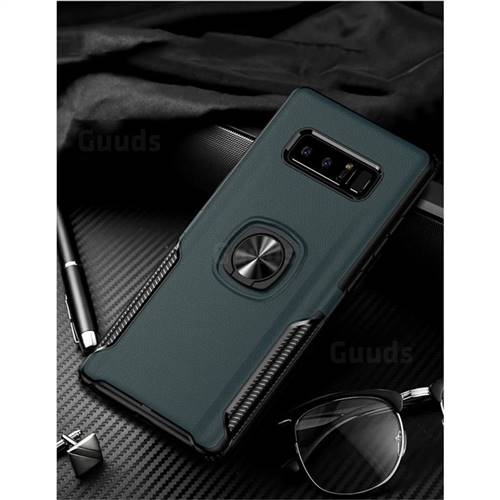 Knight Armor Anti Drop PC + Silicone Invisible Ring Holder Phone Cover for Samsung Galaxy S8 Plus S8+ - Navy