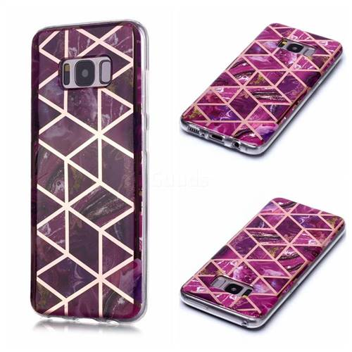 Purple Rhombus Galvanized Rose Gold Marble Phone Back Cover for Samsung Galaxy S8 Plus S8+