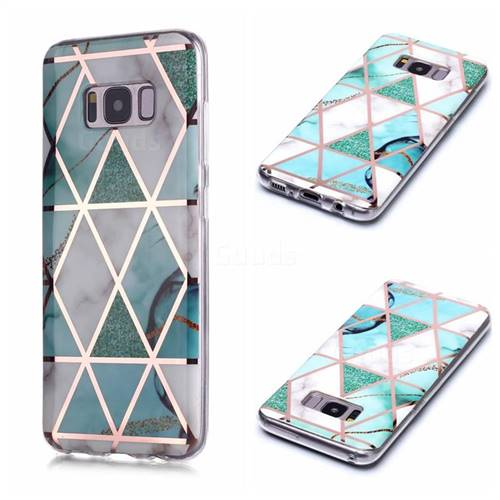 Green White Galvanized Rose Gold Marble Phone Back Cover for Samsung Galaxy S8 Plus S8+